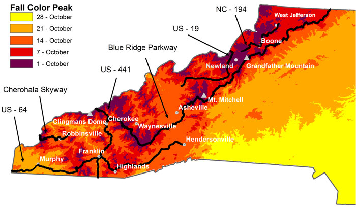 2010 Fall Color Peak Map