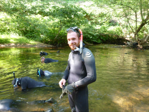 Gary Pandolfi in the field with wet suit and snorkeling gear