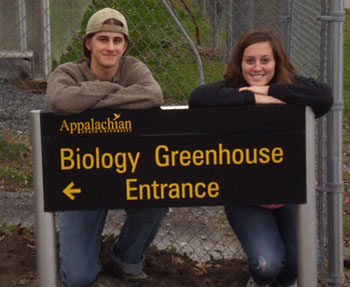 biology greenhouse entrance sign