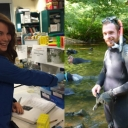 Laura Ellis in the lab; Gary Pandolfi in the field with wetsuit in a river