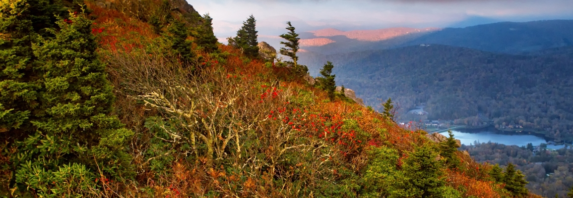grandfather mountain with fall foliage