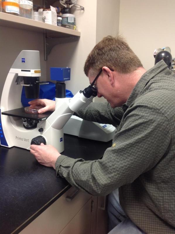 Darren Seals at microscope